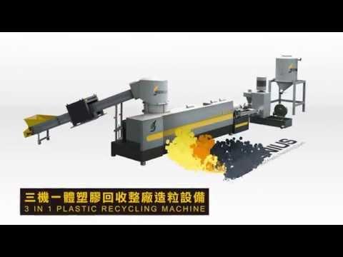 Waste Plastic Recycling Machine - 3in1 Die-face Pelletizing Plant | GENIUS