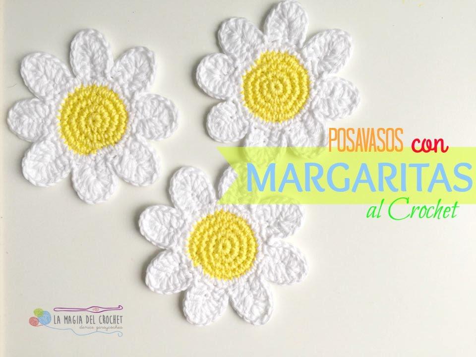 Como hacer posavasos con Margaritas al Crochet - YouTube