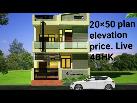20×50 3D house plan elevation 4 bhk Live information /duplex plan and price
