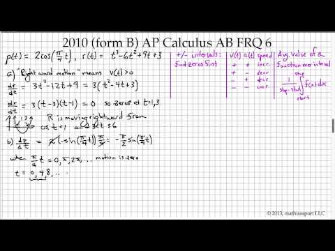 2010 Form B AP Calculus AB FRQ 6 YouTube