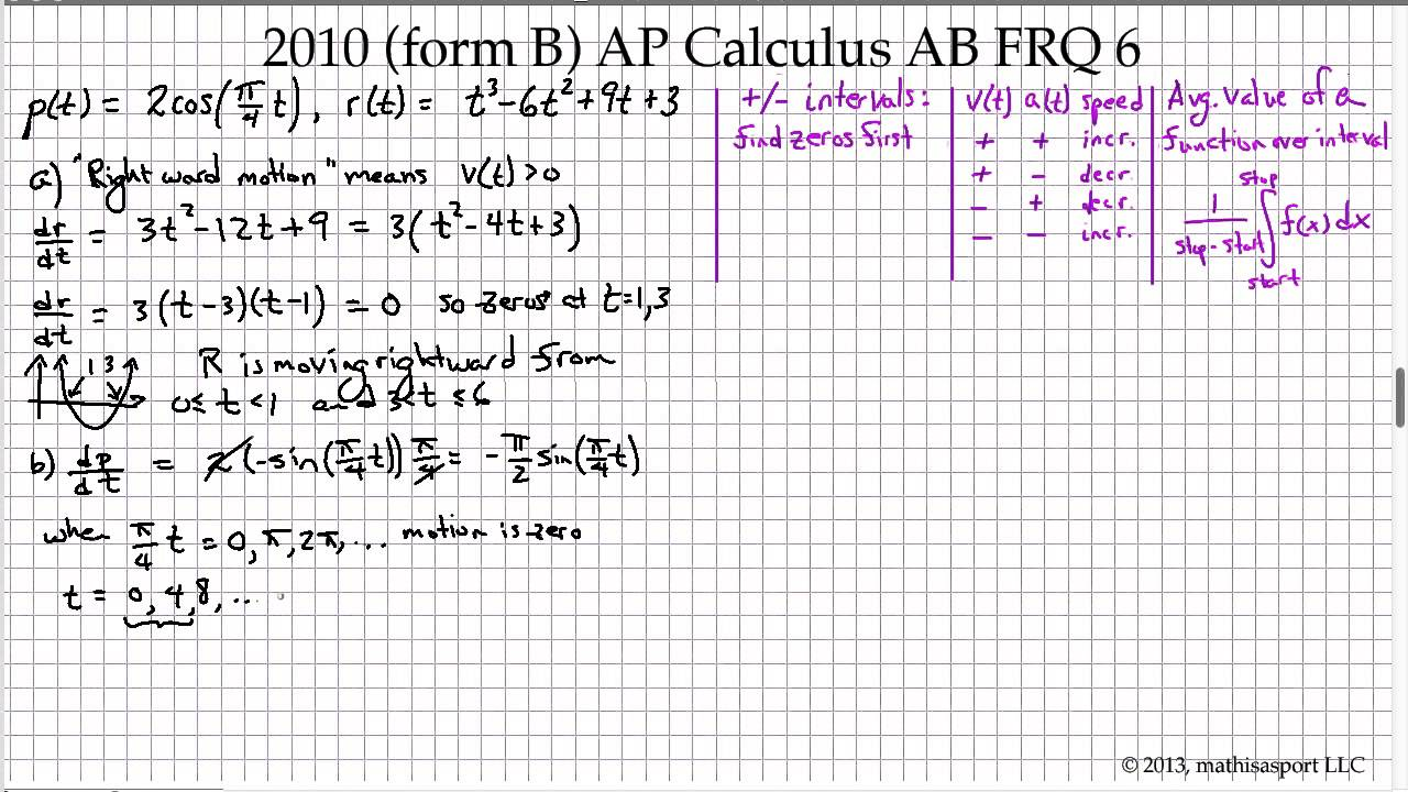 2010 (form B) AP Calculus AB FRQ 6 - YouTube