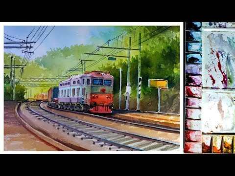 Watercolor painting : Paint a Train
