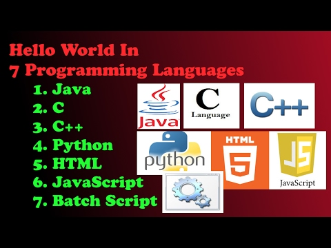 Hello World in 7 Programming Languages | Java | C | C++ | Python | JavaScript | Batch Script