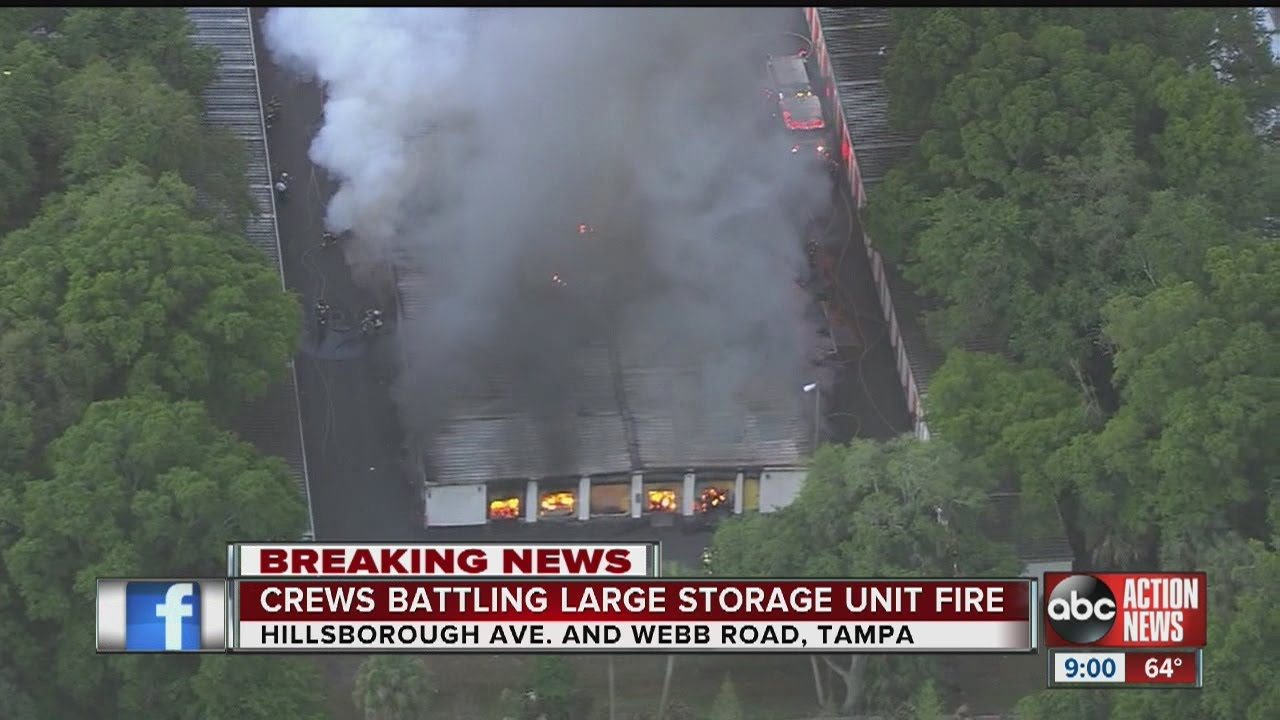 Massive fire at T&a storage unit facility up to 30 units fully engulfed & Massive fire at Tampa storage unit facility up to 30 units fully ...