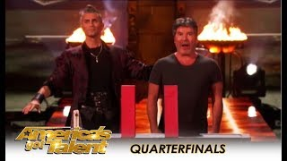 Aaron Crow Has Simon Cowell SCARED For His Life During Danger Act! | America's Got Talent 2018