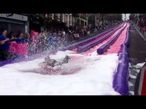 The big water slide down Derry's Shipquay Street for Cancer Research. Sept 2014.