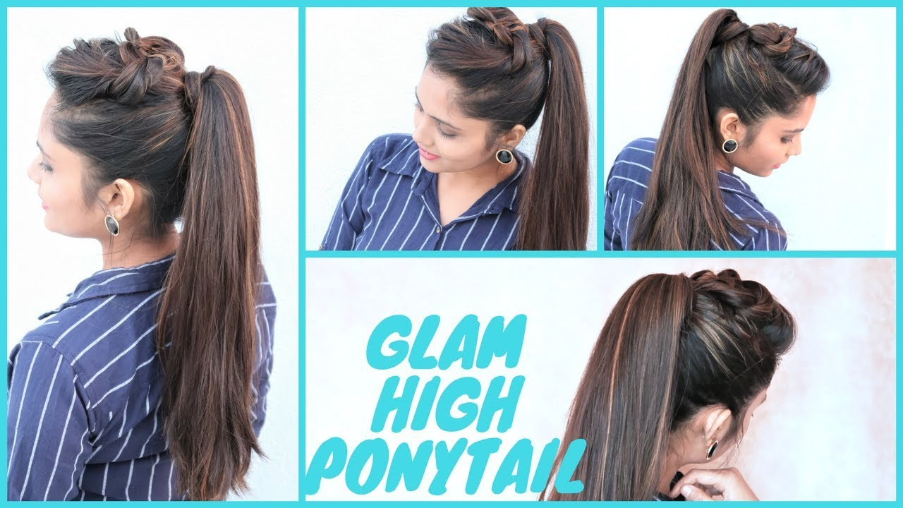 glam high ponytail hairstyle