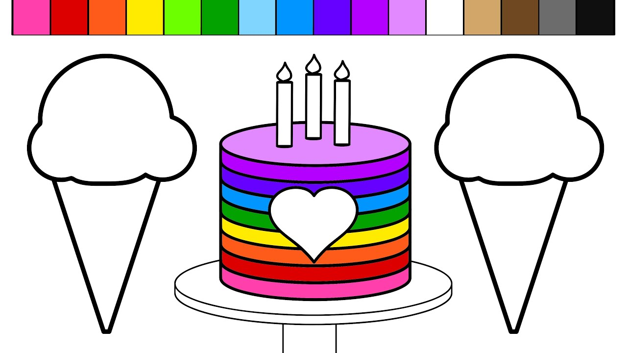 Learn Colors and Color Rainbow Ice Cream Birthday Cake Coloring ...