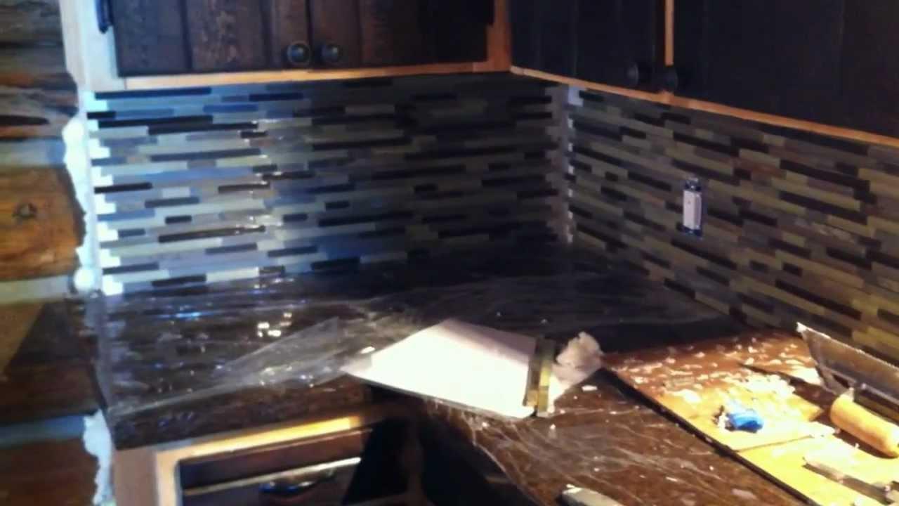 Installing Mosaic Tile backsplash in log cabin Part 2 YouTube