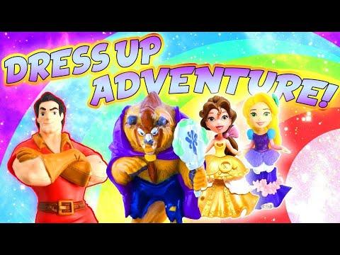 LOL Surprise Dolls & Disney Beauty And The Beast Dress Up Adventure! W/ Rapunzel, Belle & It Baby