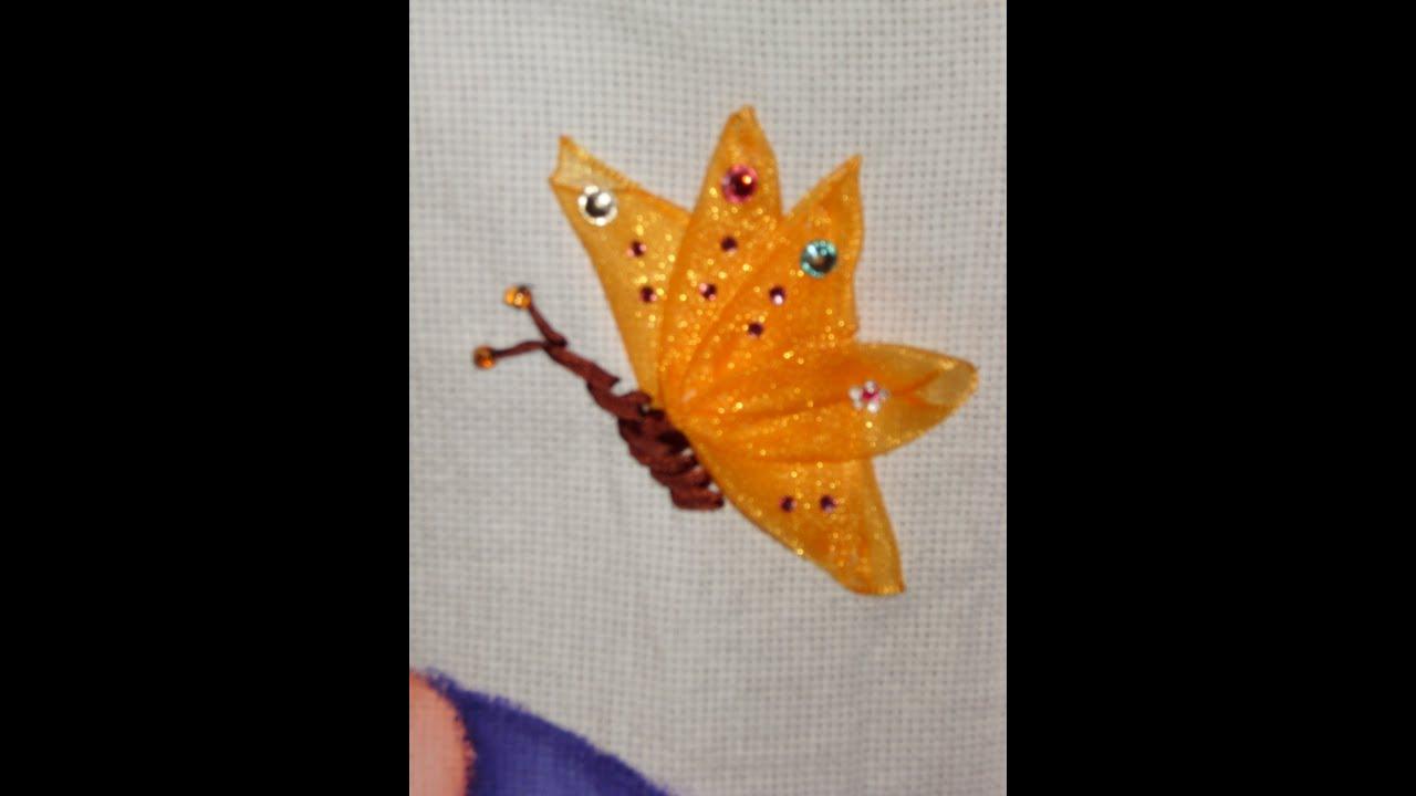 DIY Cómo bordar una mariposa de perfil en listón/cintas - YouTube