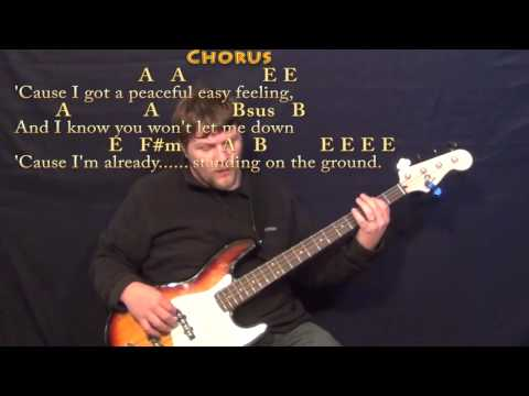 Peaceful Easy Feeling (Eagles) Bass Guitar Cover Lesson with Chords/Lyrics