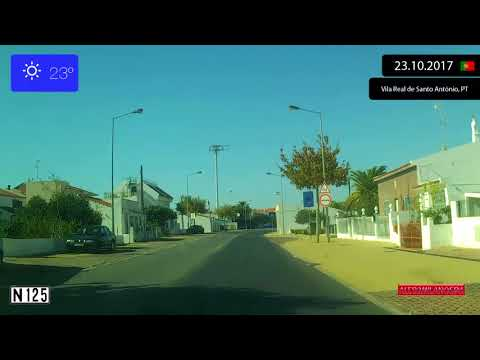 Driving through Algarve (Portugal) from Castro Marim to Vila Nova de Cacela 23.10.2017 Timelapse x4