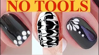 9 Easy Black and White Nail Designs without tools 💅  / Nail Art Compilation