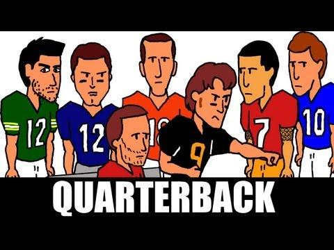 Quarterback - Peyton Manning v. Tom Brady v. Aaron Rodgers v.  Drew Brees (CARTOON PARODY)