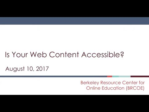 Accessibility Training #2: August 10, 2017