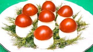"""Закуска из фаршированных яиц """"Грибочки-боровички"""""""