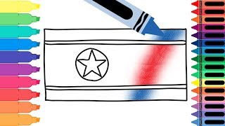 Coloring Pages for kids- How to Draw North Korea Flag- Drawing the North Korean Flag- Tanimated Toys