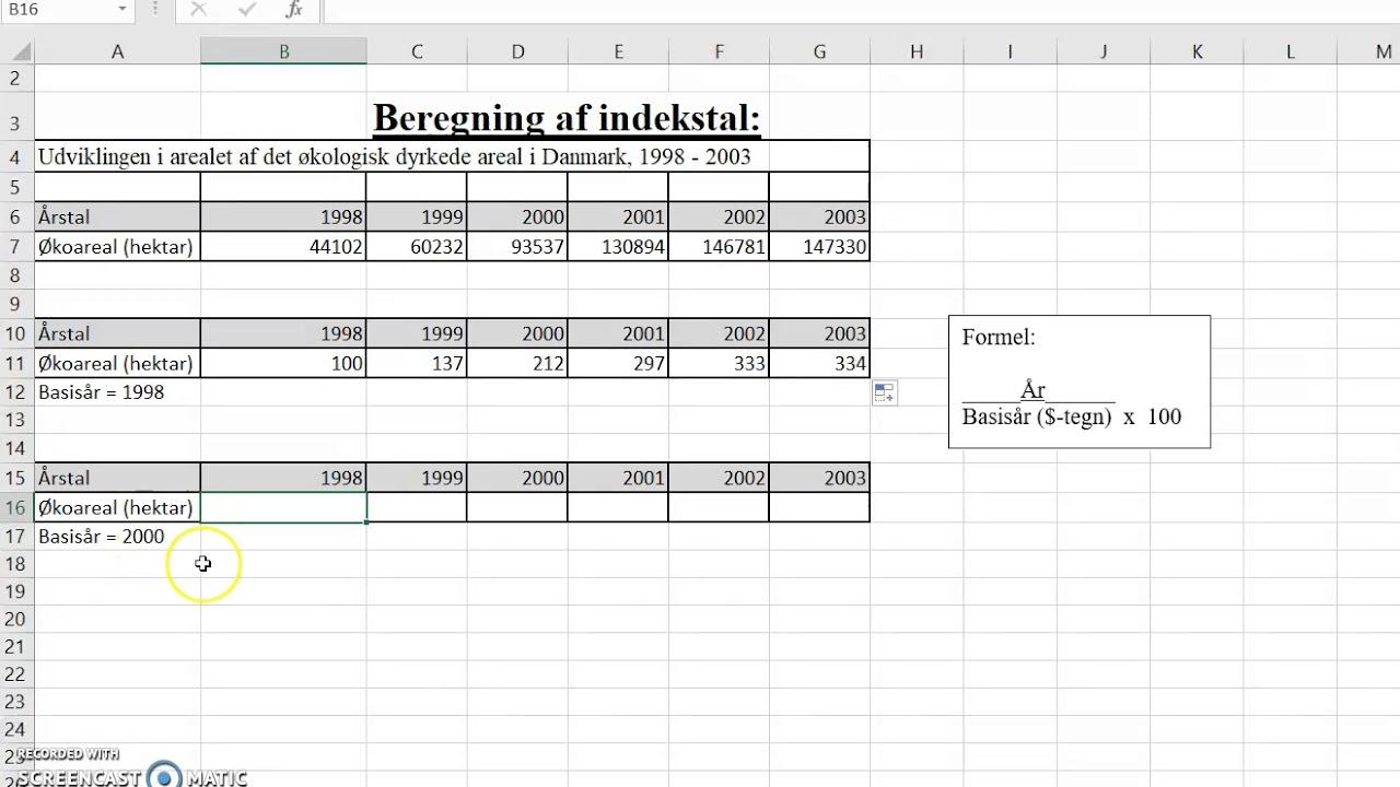 udregning af indekstal
