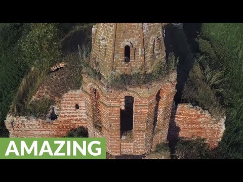 Drone footage captures abandoned Russian church