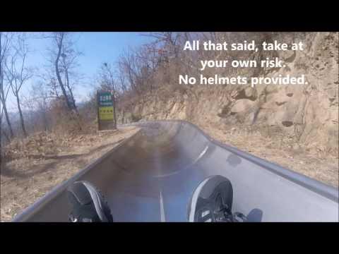 Mutianyu 幕田峪长城 Great Wall of China Toboggan Luge Ride Entire Ride GO PRO Footage