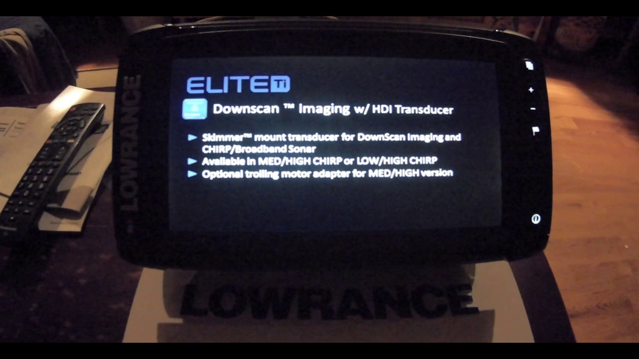 Lowrance Elite 9 TI in simulator mode