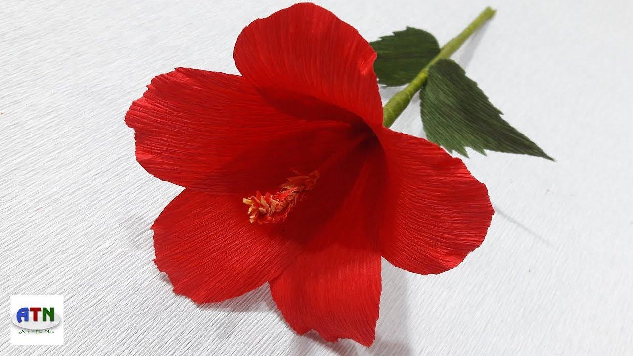 Impressive Hibiscus Flower Crepe Paper How To Craft Origami Paper