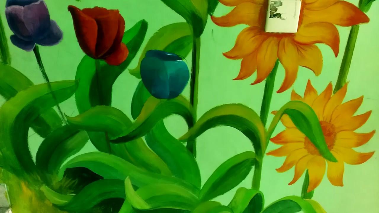 Lukisan Dinding Tema Bunga Sabalukisan