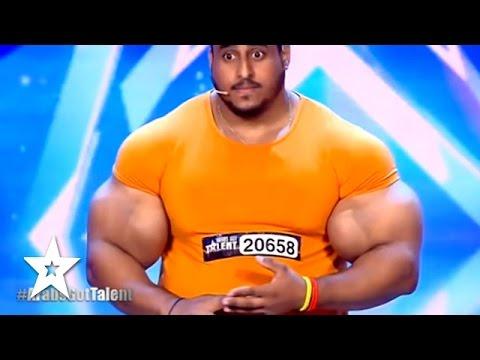 Real Life HULK Sings & Arms Wrestles JUDGE! Got Talent Global