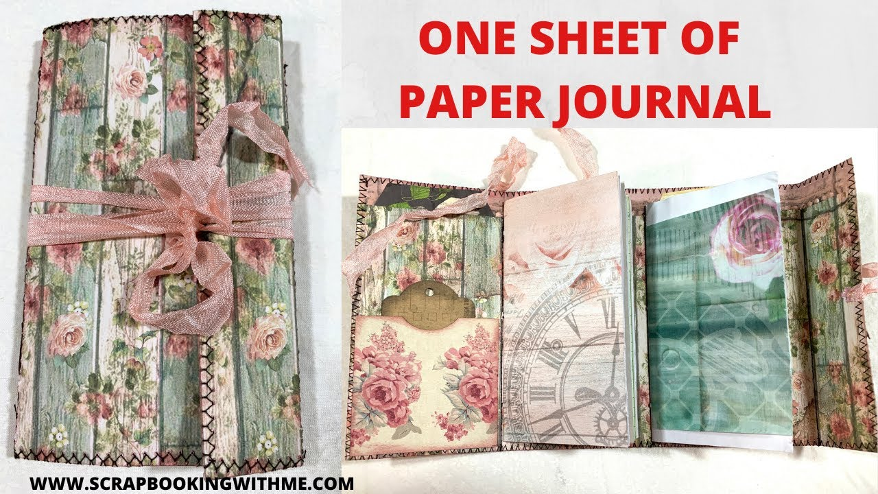 ONE SHEET 12X12 SCRAPBOOK PAPER MINI JOURNAL~ WITH TWO SIGNATURES & POCKETS