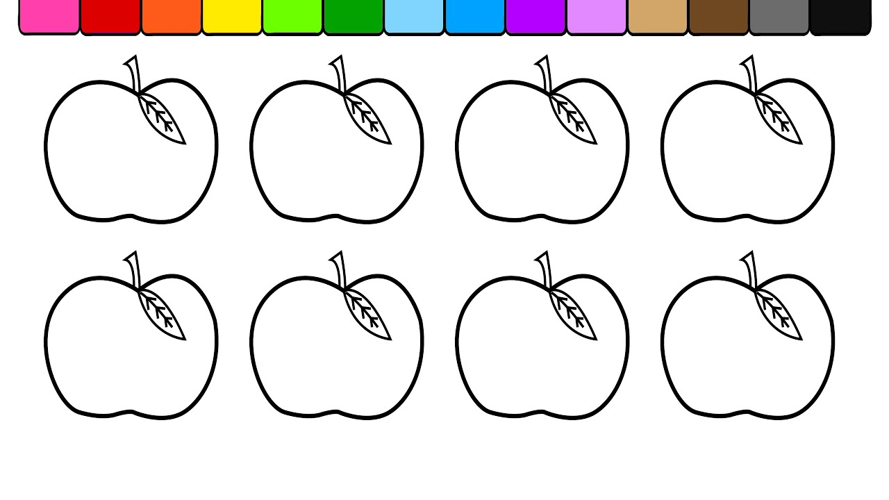 Learn Colors For Kids Children Toddlers And Color Apples Coloring Page