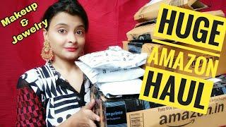 *Huge* Amazon Haul | Makeup and jewelry Haul | Try On video