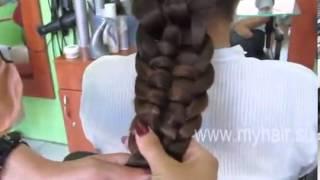 Как сделать косу в 5 прядей,классная прическа)