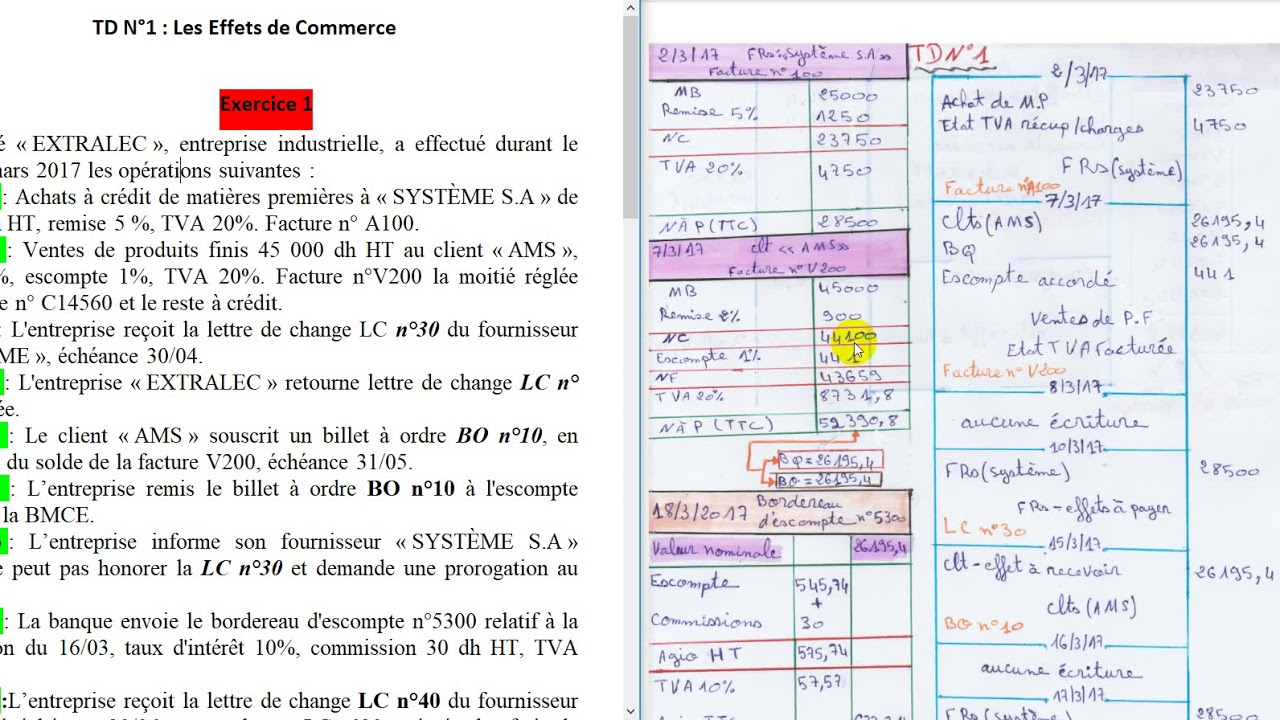 TD 1 comptabilité (s2) exercice 1/ les effets de commerce ...