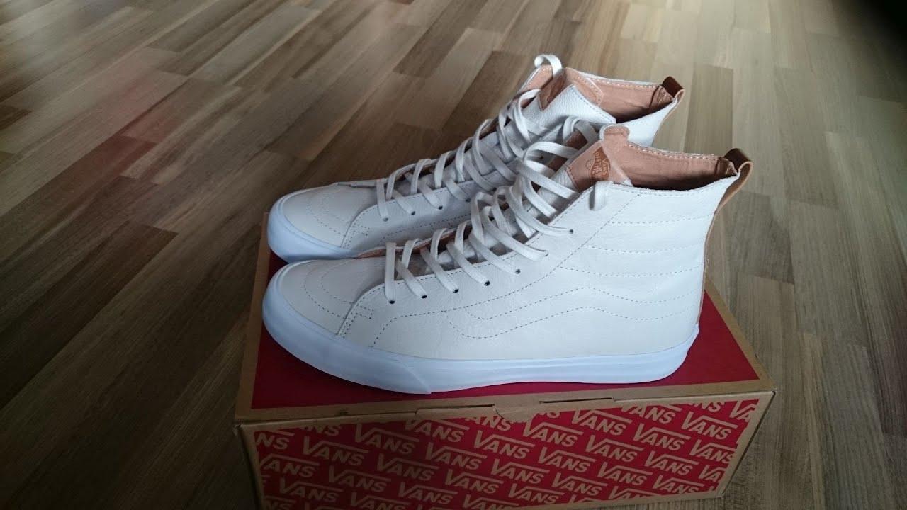 f027598568425b Vans Sk8-Hi Decon CA (premium leather) winter white unboxing   on feet