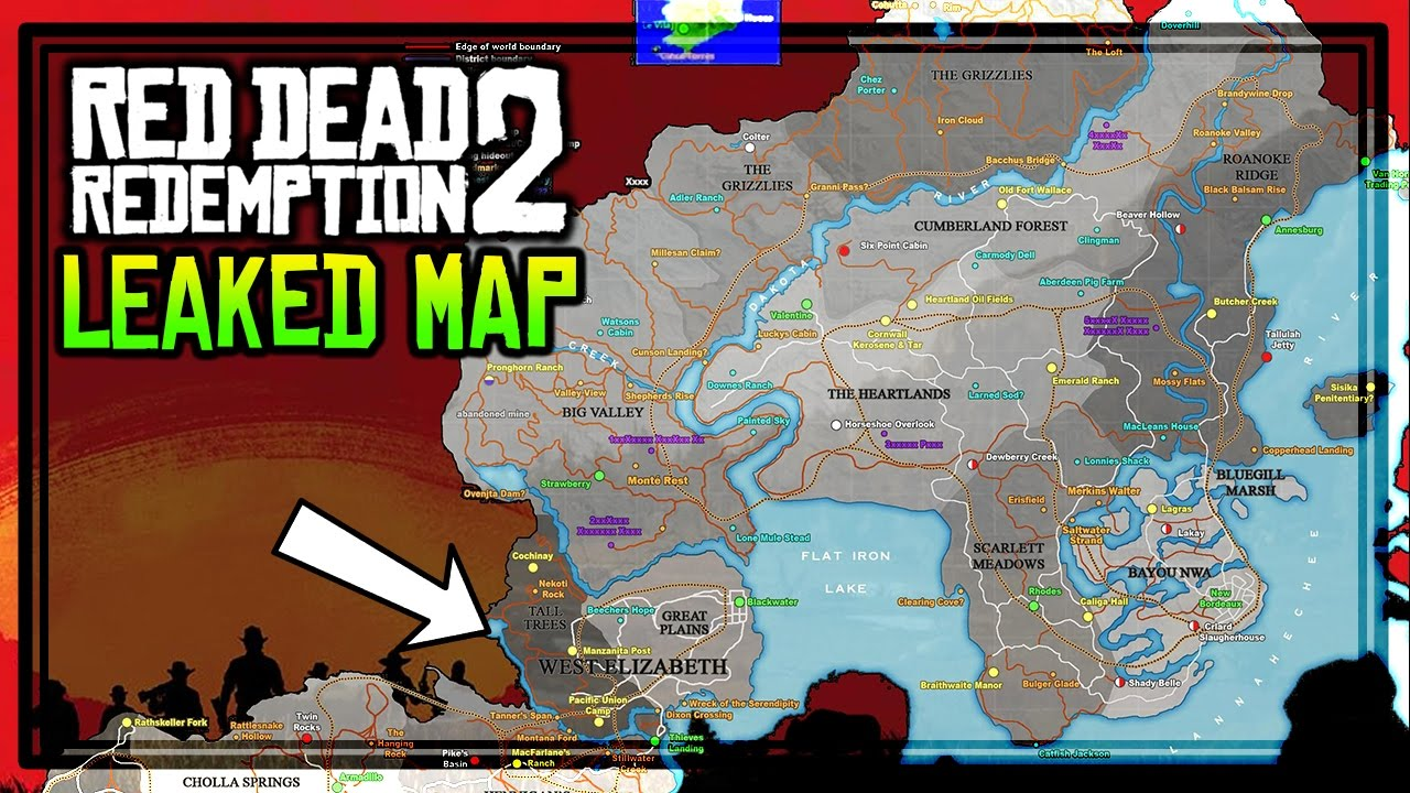 Red Dead 2 World Map.Red Dead Redemption 2 Leaked Game Map Youtube