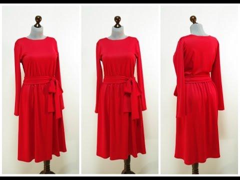 Красное платье миди с юбкой клеш