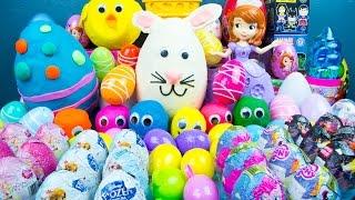 75 SURPRISE EGGS! Play-Doh My Little Pony Disney Princess Toys Frozen Big Hero 6 Kinder Playtime