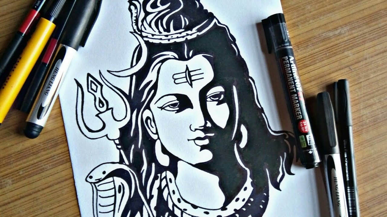 Lord shiva drawing by markers