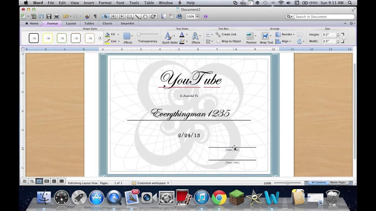 How to create a certificate on word 2011 mac youtube yelopaper Gallery