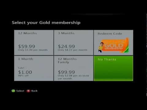 Xbox LIVE Gold for FREE or One Dollar Month -- Silver member