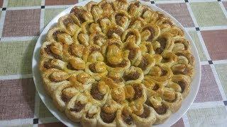 Пирог с мясом Хризантема. Готовим вкусно.