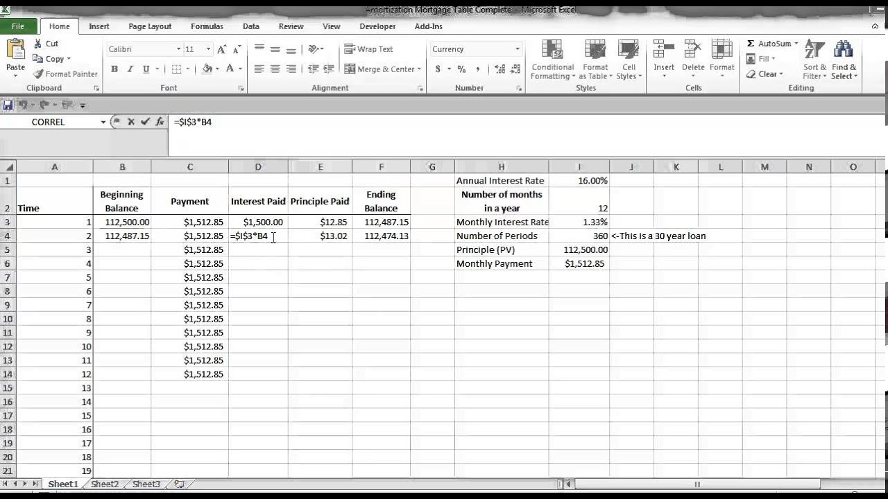 amortization schedule excel youtube