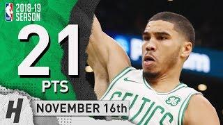 Jayson Tatum Full Highlights Celtics vs Raptors 2018.11.16 - 21 Pts, 7 Rebounds!
