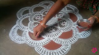 Friday special// Maha Lakshmi //🌟 star flower padi kolam//pandaga muggulu//easy rangoli//