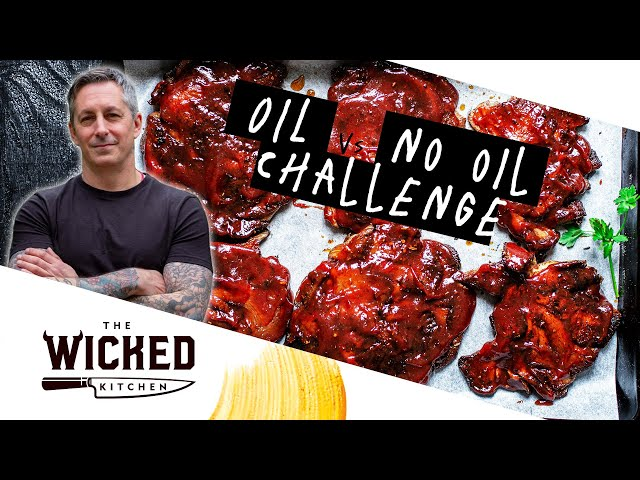 NO OIL vs OIL CHALLENGE - BBQ Mushroom Steaks! | The Wicked Kitchen