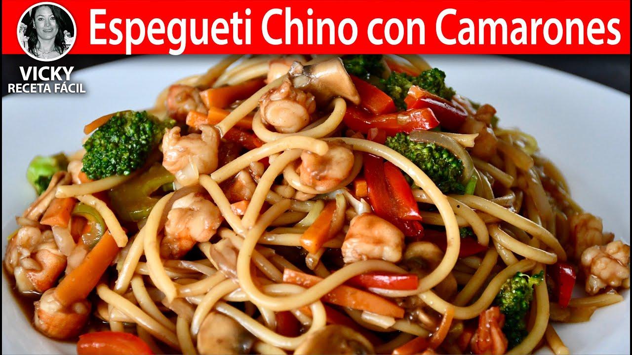 Espagueti Chino con Camarones   #VickyRecetaFacil
