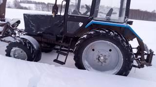 Шнекороторный снегоочиститель на самодельной передней навеске МТЗ 82