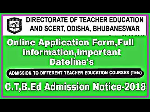 Odisha SCERT Application Form 2018    Odisha B.Ed, M.Ed, D.El.Ed(CT) Admission Form 2018