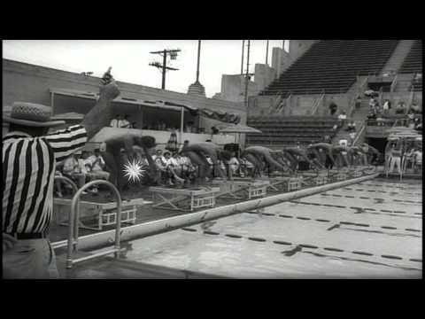 People gather to watch a swimming championship held in Los Angeles, California. HD Stock Footage